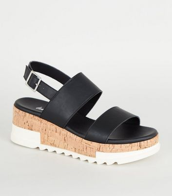 Black Leather-Look Flatform Sandals