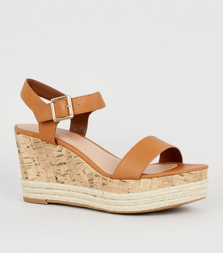 78d6df15fc2 Tan Leather-Look Espadrille And Cork Wedges