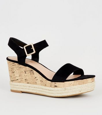 Black Suedette Strappy Cork Espadrille Wedges