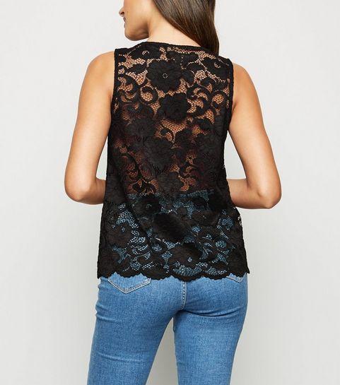 88d2920ca928f ... Black Scallop Edge Lace Vest Top ...