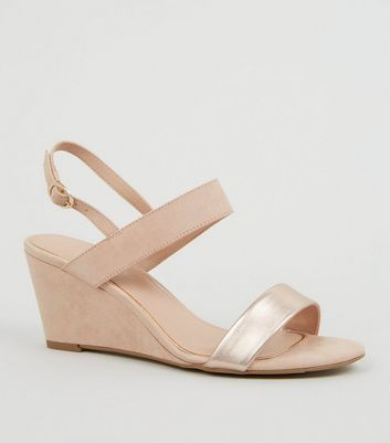 Wide Fit Nude Suedette 2 Part Wedge Heels