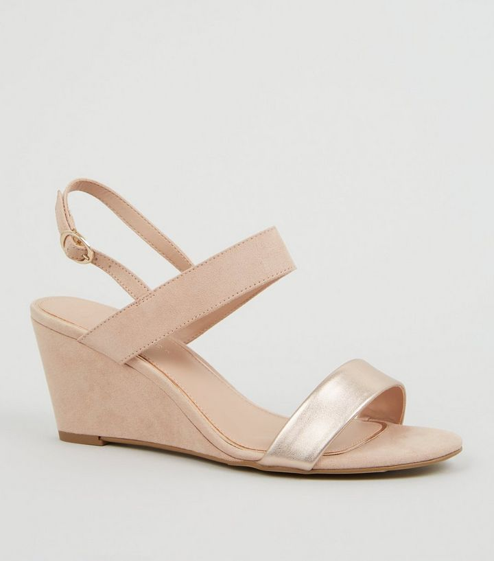 eabf8710b4fd Wide Fit Nude Suedette 2 Part Wedge Heels