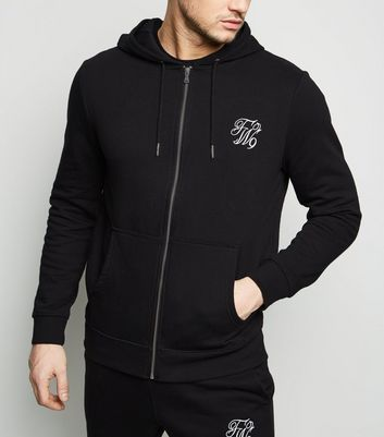 Black TW9 Embroidered Zip Up Hoodie