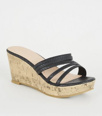 Wide Fit Black Faux Snake Mule Wedges