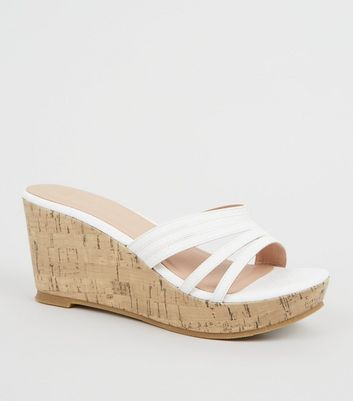 Wide Fit White Faux Snake Mule Wedges