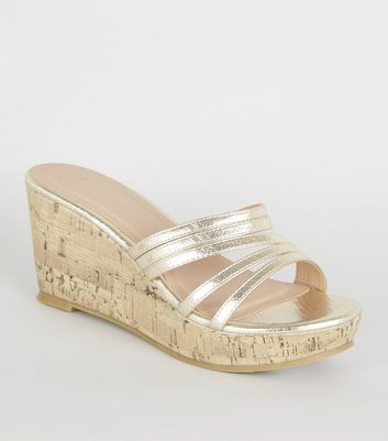 Wide Fit Gold Faux Snake Mule Wedges