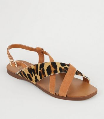 leopard strap sandals
