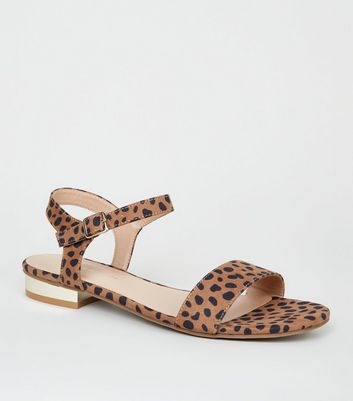 Wide Fit Brown Leopard Print Metal Heel Sandals