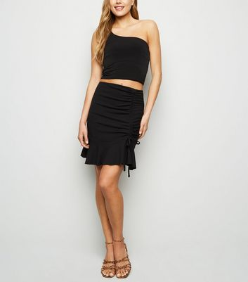 Black Ruched Mini Skirt