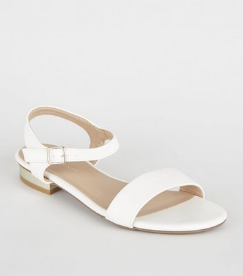 Wide Fit White Metal Heel Sandals