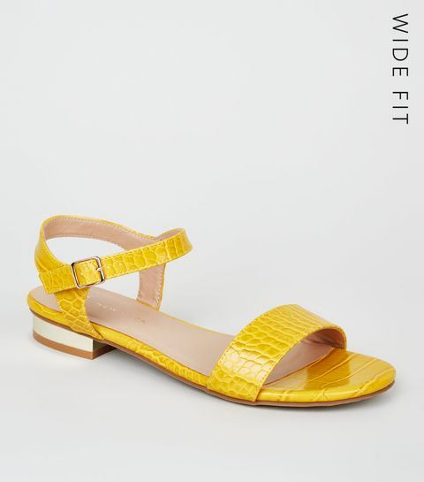 c44ed2c0a39 ... Wide Fit Yellow Faux Croc Metal Heel Sandals ...