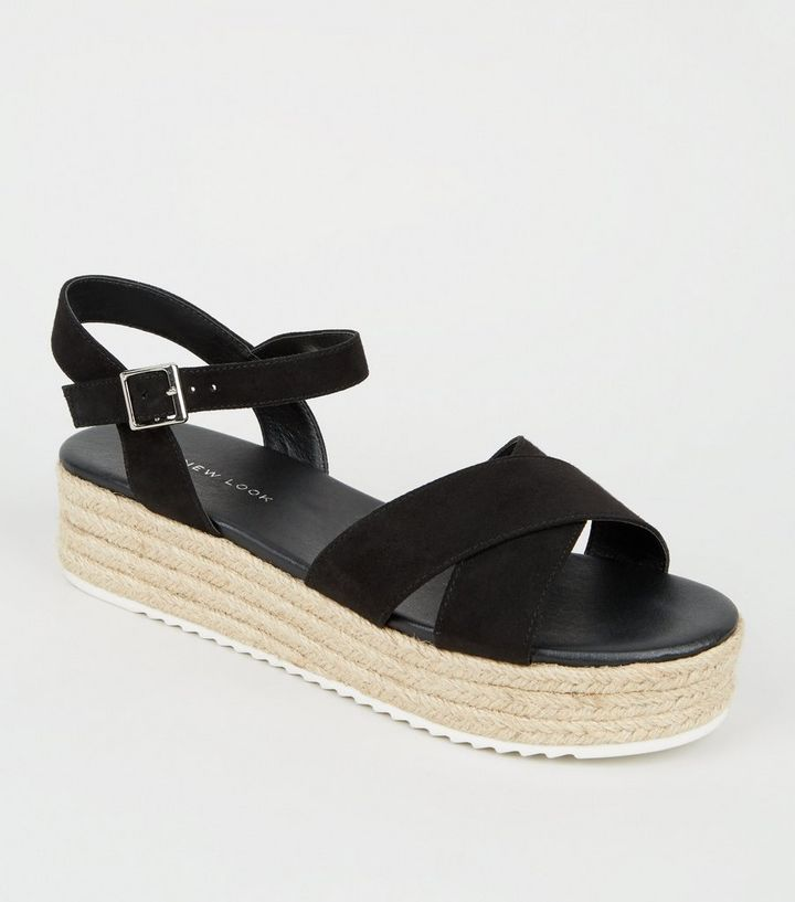 2513c4fc765 Wide Fit Black Espadrille Platform Sandals Add to Saved Items Remove from  Saved Items