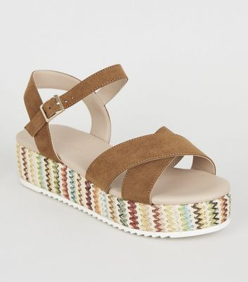 Wide Fit Tan Espadrille Flatform Sandals