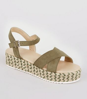 Wide Fit Khaki Espadrille Flatform Sandals