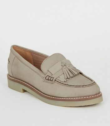 Grey Suede Tassel Trim Loafers