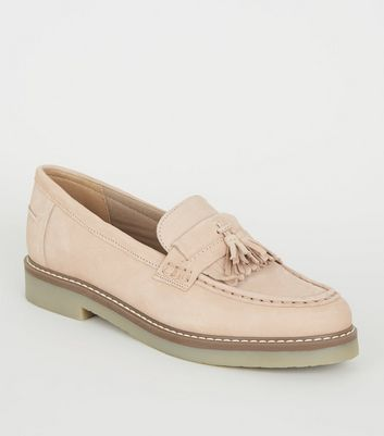 Nude Suede Tassel Trim Loafers