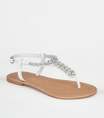Wide Fit White Leather-Look Beaded Sandals