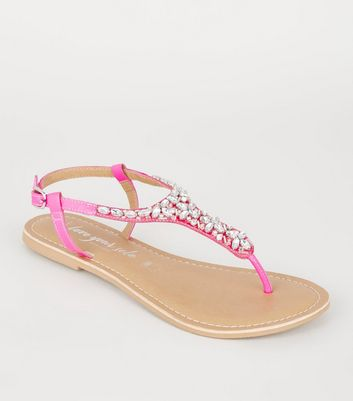 Wide Fit Bright Pink Leather-Look Beaded Sandals