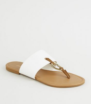 White Leather-Look Ring Strap Sandals