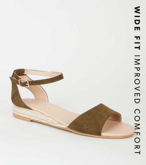 412c8ce113c ... Wide Fit Khaki Espadrille Wedge Sandals ...