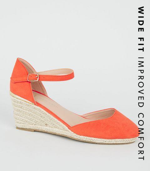 14e2a7e03a37 ... Wide Fit Orange Suedette Espadrille Wedge Heels ...