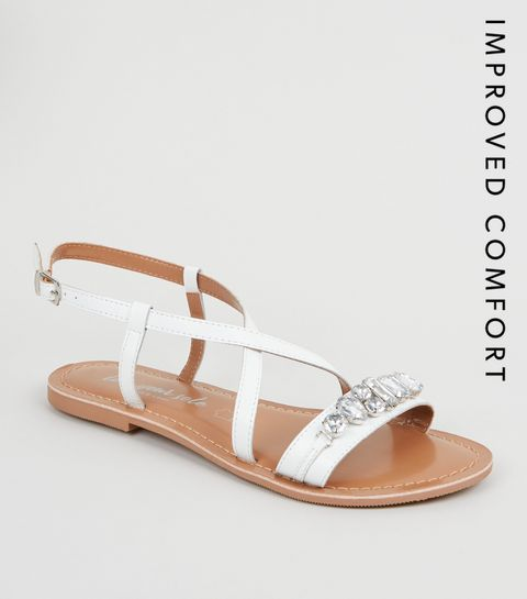 2e4a50f6cf1 ... White Leather Gem Strap Flat Sandals ...