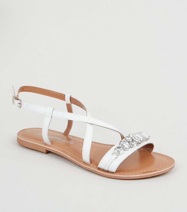 8f4c18683 White Leather Gem Strap Flat Sandals