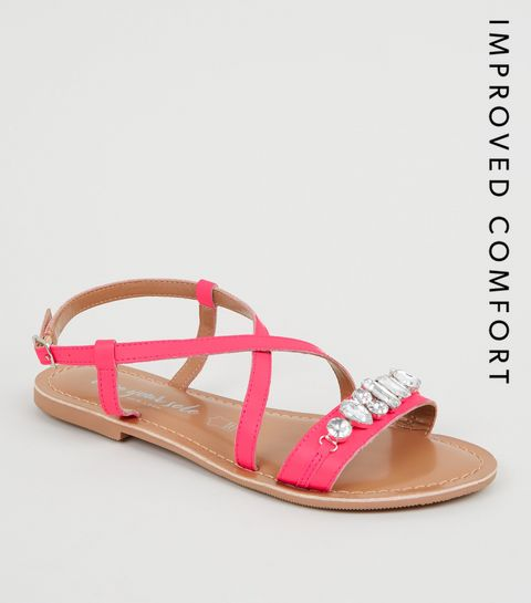 8fa9a727a ... Bright Pink Leather Gem Strap Flat Sandals ...