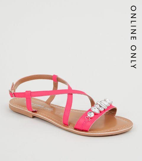 35bc41cb5754 ... Bright Pink Leather Gem Strap Flat Sandals ...