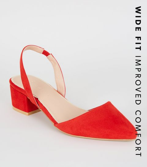 20309c4d49b ... Wide Fit Red Suedette Slingback Pumps ...