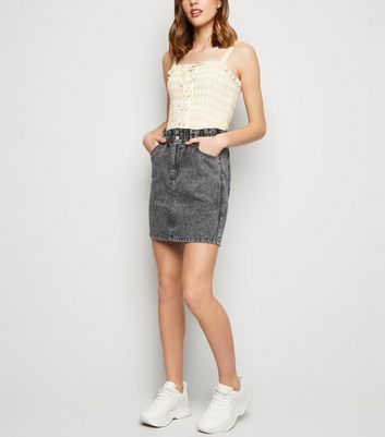 Black Acid Wash Paperbag Waist Denim Skirt