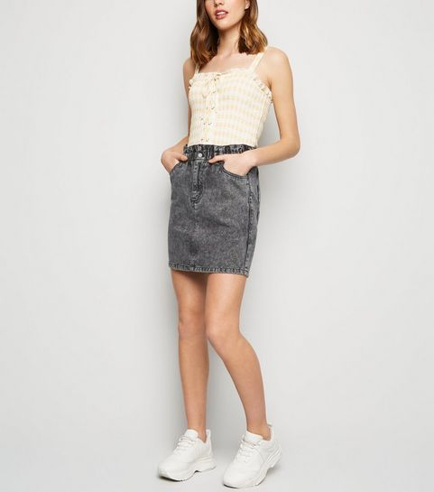 af3a95ffda ... Black Acid Wash Paperbag Waist Denim Skirt ...