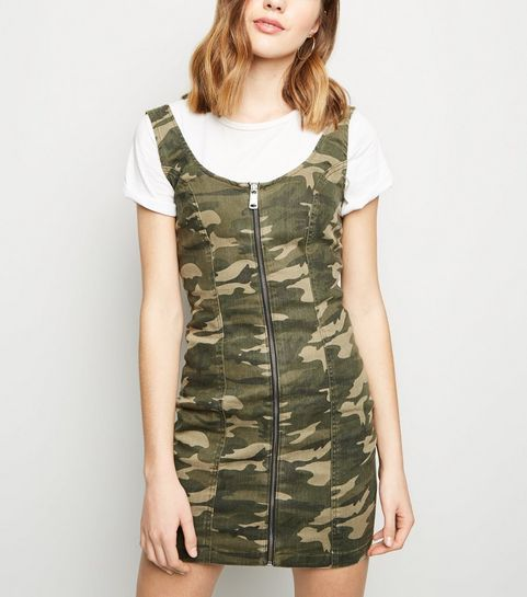 f8d41da603 ... Green Camo Zip Front Bodycon Dress ...