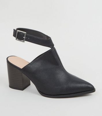 Wide Fit Black Leather-Look Pointed Heels