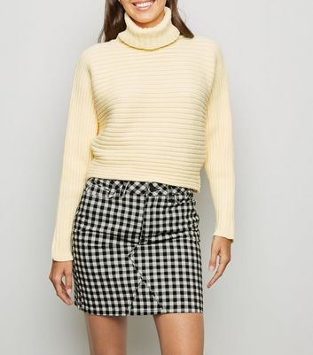 Black Check Print Denim Skirt