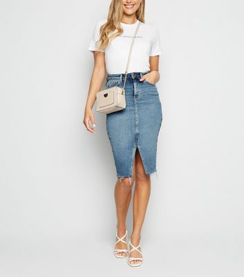 Blue Split Front Denim Pencil Skirt
