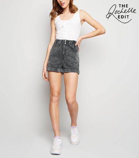 628f01d1d2 ... Black Acid Wash Paperbag Denim Shorts ...