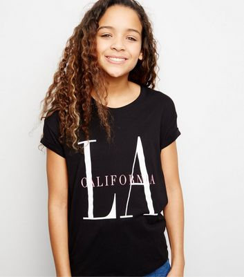 Girls Black LA Slogan T-Shirt