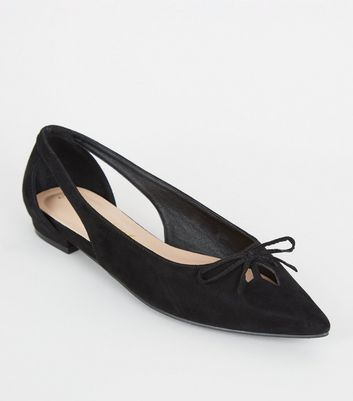 Black Suedette Cut Out Pointed Ballet Pumps