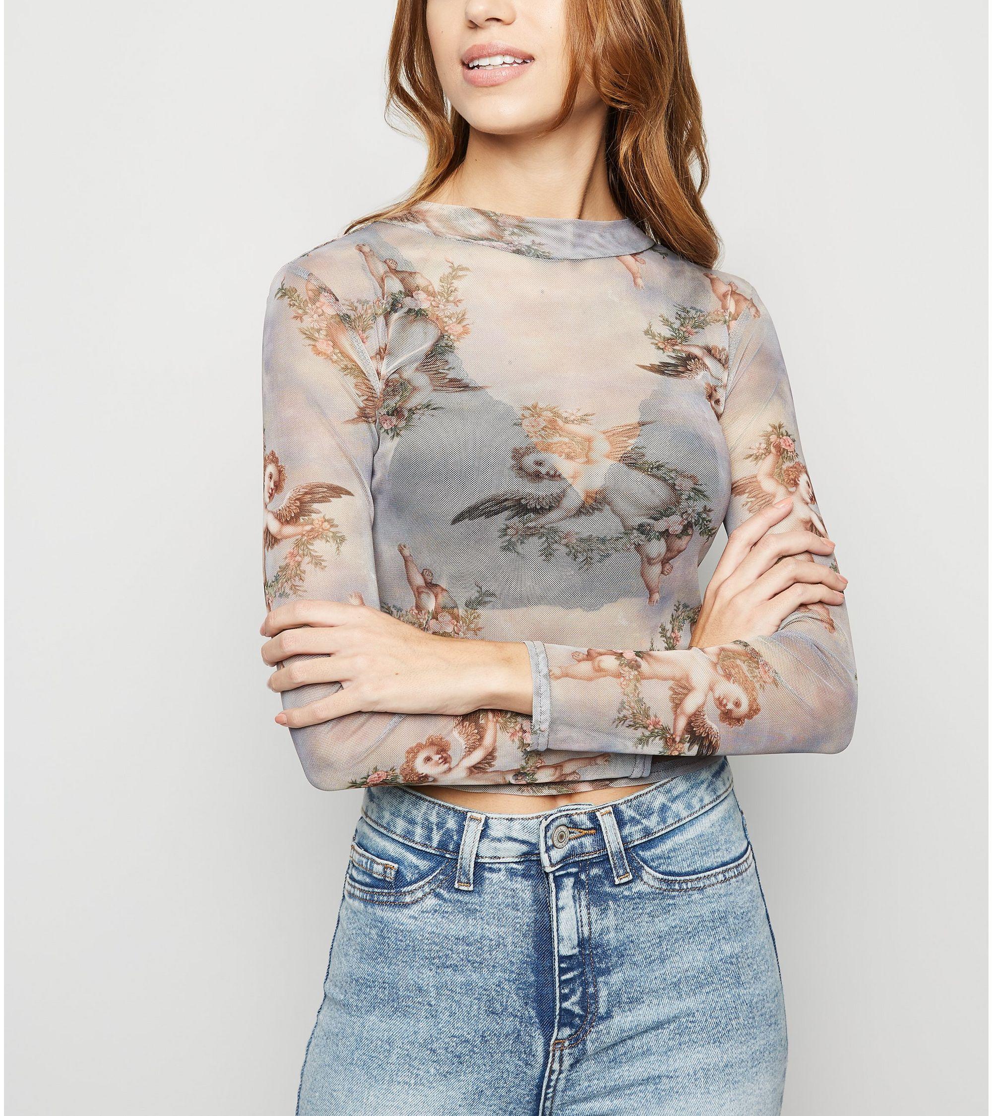 4c7427e2aa9b0 New Look cherub floral print mesh top at £12.99 | love the brands