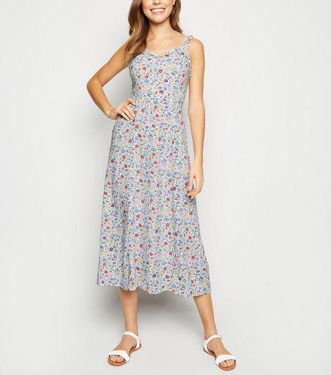 37f249f001 ... White Floral Frill Trim Midi Dress ...