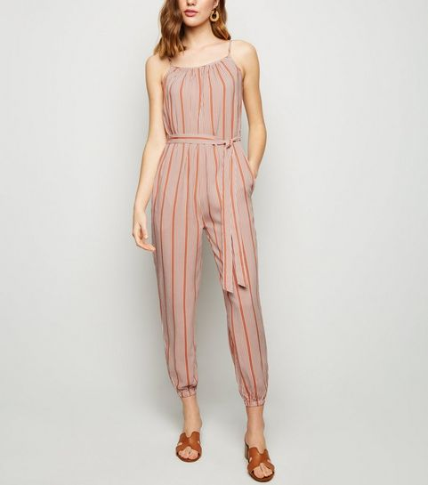 beafd590762 ... Brown Stripe Cuffed Leg Jumpsuit ...
