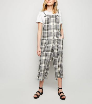 White Check Dungaree Jumpsuit