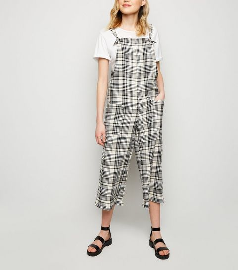 ba08ed7fe26f ... White Check Print Dungaree Jumpsuit ...