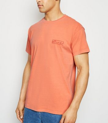 Coral Washed Brooklyn Slogan T-Shirt