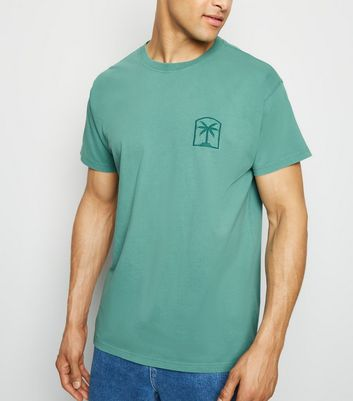 Green Washed Palm Pattern T-Shirt