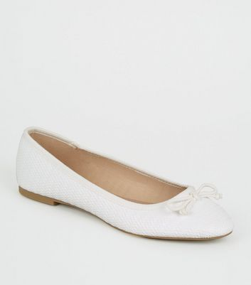 White Textured Finish White Ballet Pumps
