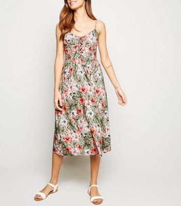 Brown Floral Lattice Front Midi Dress