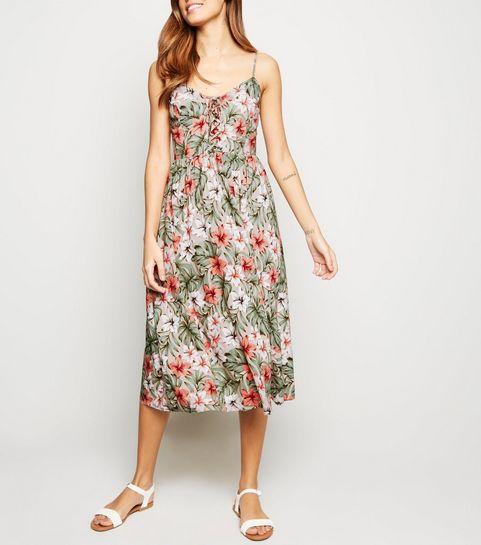 32cb59f3ec335d ... Brown Floral Lattice Front Midi Dress ...