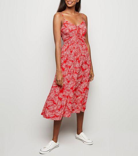 c184f532536c ... Red Leaf Print Lace Up Front Dress ...